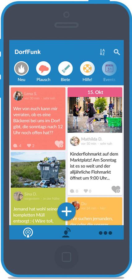 Abbildung DorfFunk auf Smartphone